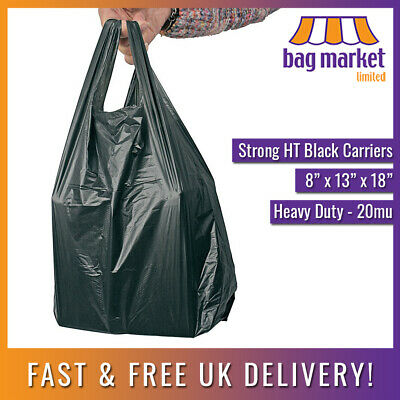 "2000 x Black HT Plastic Vest Wine/Bottle Carrier Bags | 8"" x 13"" x 18"" 