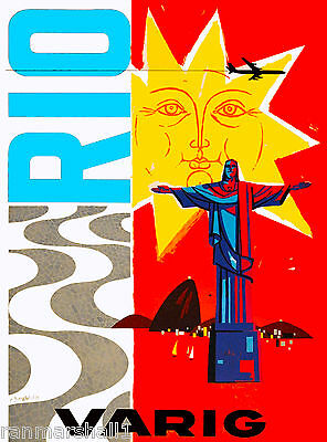 Rio de Janeiro Brazil Varig South America Airlines Travel Poster Advertisement