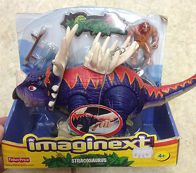 Fisher Price Imaginext Stracosaurus Dinosaur w/ Saddle & Caveman Minifigure New
