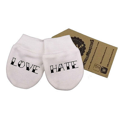 Metallimonsters Love Hate scratch mittens alternative goth punk rock metal baby