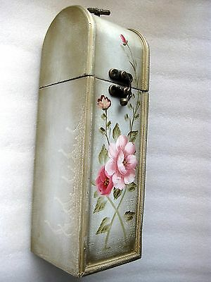 "Wine Bottle  Carry Case Folk Art "" Roses "" Wood   Vgc"