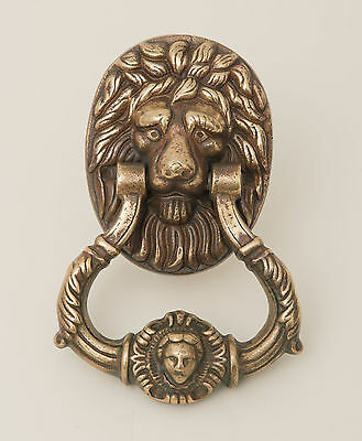 Vintage/Antique Lions Mask Head Heavy and Large Cast Brass Door Knocker
