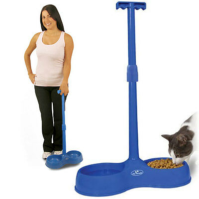No Bend Pet Dog Bowl Cat Food Water Dish Bowls Feeding Adjustable Height Extend
