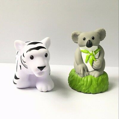 2 Fisher-Price Little People Zoo Talkers Koala Bear Tiger Animal (no sound)