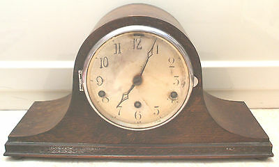 "German Napoleon Hat Shape Oak Westminster Chimes Clock GWO 9""H 16.5""W 6""D"