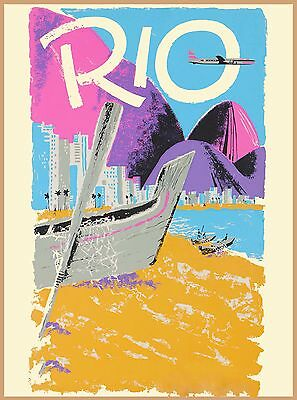 Rio de Janeiro Brazil Beach South America Vintage Travel Advertisement Poster