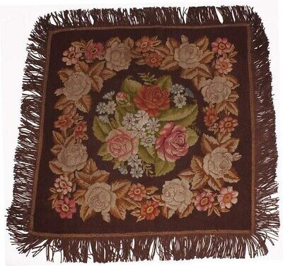 """Antique Needlepoint Tablecloth or Table Cover Fringed Rose Flower Pattern 46"""""""
