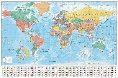 World Map (Flags and Facts) - Maxi Poster 61cm x 91.5cm PP33948 - 388