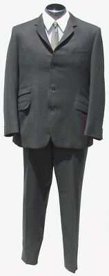 1960s Mens Suit by Hardy Amies Gray Worsted Wool Size M