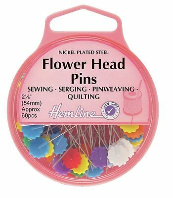 Flower Head Pins: Nickel - 54mm, 60pcs (9g) -HEMLINE H707