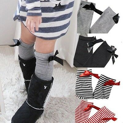 Baby Girls Boutique Knee High Length Socks School Cotton Striped Bow Christmas