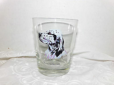 """Vintage 1970's Decal ENGLISH SETTER Hunt Dog Drinking GLASS TUMBLER 4 1/2"""" tall"""