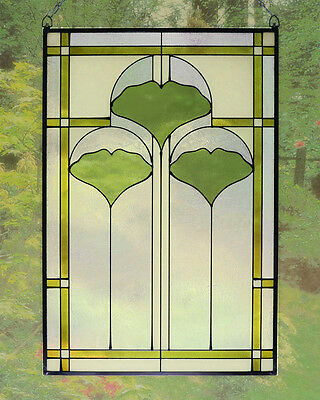 Arts and Crafts Ginkgo Stained Glass Panel