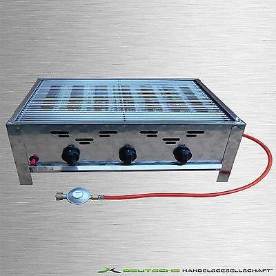 Stainless steel Gas Grill 3 flame Catering Leisure Propane Butane