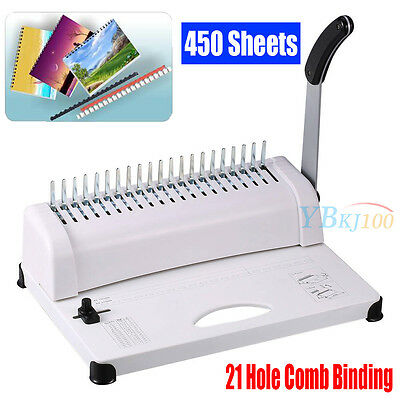 21-Hole 450 Sheets Paper Comb Punch Binder Machine Binding Report Scrapbook