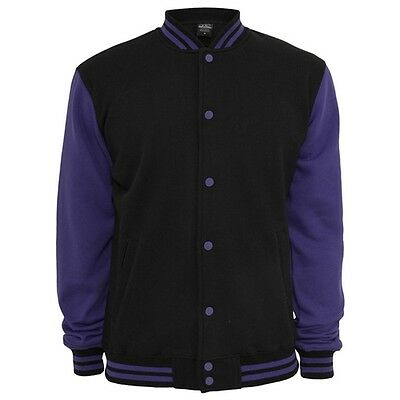 Retro College Jacken Urban Classic in Black/Purple - Uni Jacke