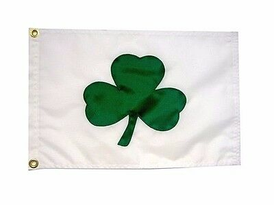 "12""x18"" Shamrock Flag Irish Lucky Clover Hand Sewn in the USA Best Quality"