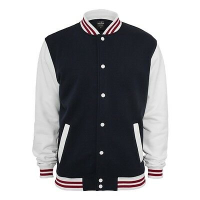 Retro College Jacken Urban Classic in Weiß/Navy - Uni Jacke
