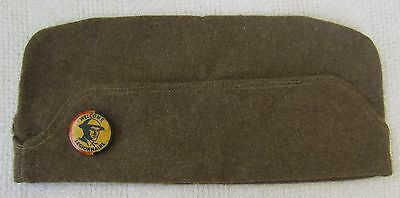 ORIGINAL WW1 Vintage US ARMY OVERSEAS CAP / HAT with WELCOME LEGIONNAIRE BUTTON