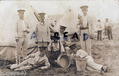 Soldier group Hertfordshire Regiment wearing fatigues Worthing Camp 1912
