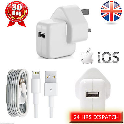 UK 12W Mains Charger for Apple iPad 4 Air 2 mini 2, iPhone 5 5s 6 6 plus+Cable