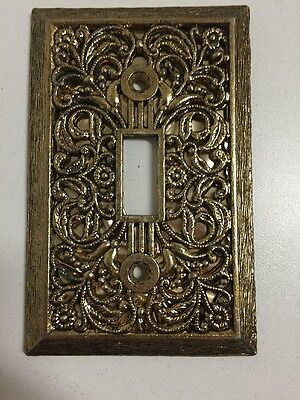 Vintage Decorative Gold Single Light Switch Cover Plate Ornate Floral Design