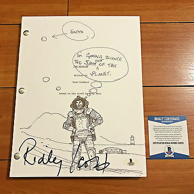 RIDLEY SCOTT SIGNED FULL THE MARTIAN SHOOTING SCRIPT ART COVER w/EXACT PROOF