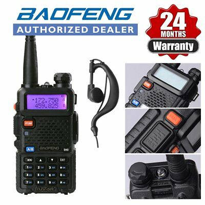 BAOFENG UV-5R Black Dual Band 136-174/400-520Mhz FM 2 Way Radio + Earpiece UK