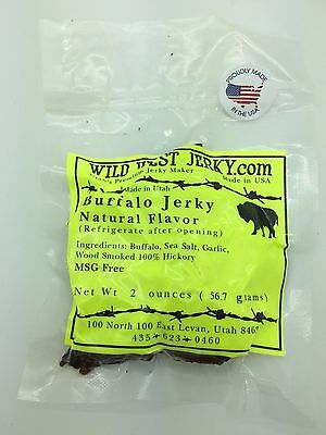 #1 BEST Natural Grass Fed Hand Stripped 2 OZ. Delicious Buffalo Natural Jerky