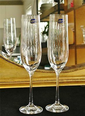 "Pair of Glamorous Bohemia Crystal ""Cascade"" Champagne flutes. NEW"