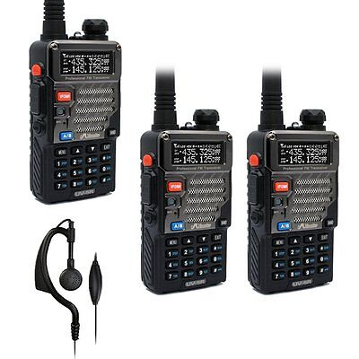 3x Baofeng / Misuta UV-5R FM 136-174/400-520MHz Two Way Radio + Earpiece UK