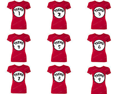 ALL Styles Women Thing 1 Family Set Funny T-Shirt Dr.Seuss Cat Bday Red Tee