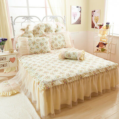 Korean Princess Bedroom Bed Skirt Lace Floral Cotton Bed Fitted Sheet Bed Cover