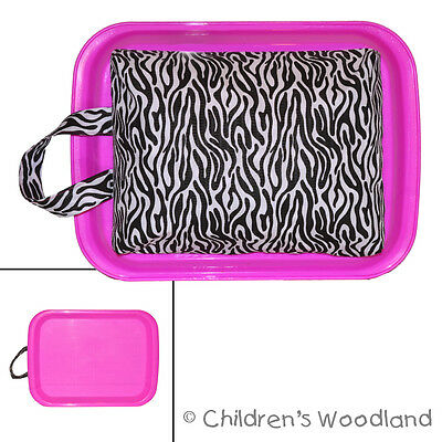 Girls Lap Desk - Childrens Zebra Tray - For Child Homework Writing Art Travel