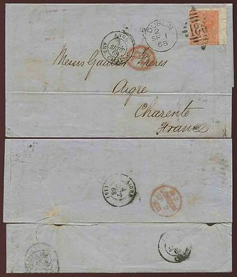 GB QV IRELAND 1868 LETTER to FRANCE 4d Plate 9 WING MARGIN