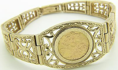 9ct 9Carat Yellow Gold Panel Bracelet & 22ct George V 1911 Half Sovereign Coin