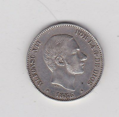 1885 Silver 50 Cents From The Philippines In Good Very Fine Condition