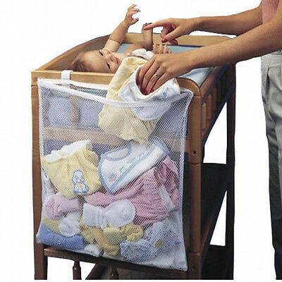 Baby Cot Crib Bed Changing Unit Clothes Nappies Storage Organizer Mesh Bag Tidy