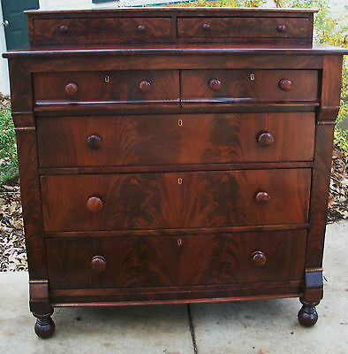 Federal Empire Antique Dresser Chest Crotch  Flame Mahogany Thomas Day @1825