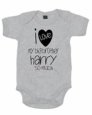 Personalised I Love My Brother So Much Heart ~ Baby Grow/romper/sleep Suit/vest