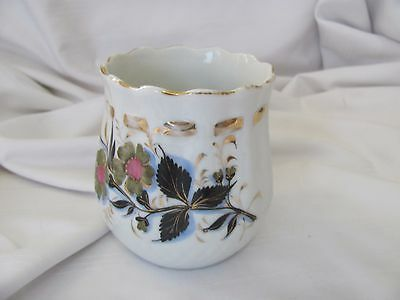 Victorian hand painted cup mug gold ribbon green pink flowers scalloped rim