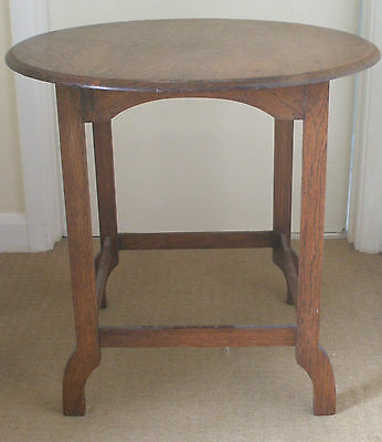 "Edwardian Oak Table With Circular Top on 4 Supported Legs VGC 21""H 21.5""D"