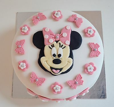 EDIBLE MINNIE Mouse Cake Topper Birthday Icing Personalised Pink