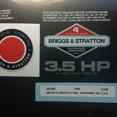 Briggs & Stratton 3.5-hp 1978-1980 Shroud Labels Decals set of 3