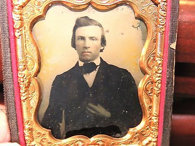 1/ 9th plate Antique Ambrotype of Young Man, Half of a Union Case Civil War Era