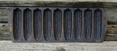 Old Antique Corn Cob Stick Mold Muffin Baking Pan 9 Slots Cast Iron
