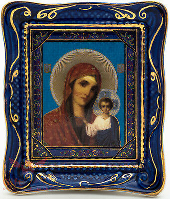 Porcelain decal gzhel gold plated Christian Icon Our Lady of Kazan Казанская БМ