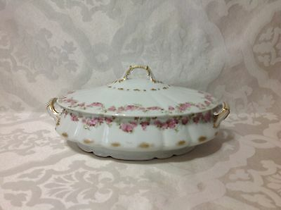 1940 Beautiful Limoges Fr GDA Decorated Oval Cov Handled Serve Dish; Excellent