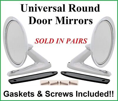 Lincoln Universal Round Chrome Door Mount Rear View Mirrors w/ Gaskets PAIR