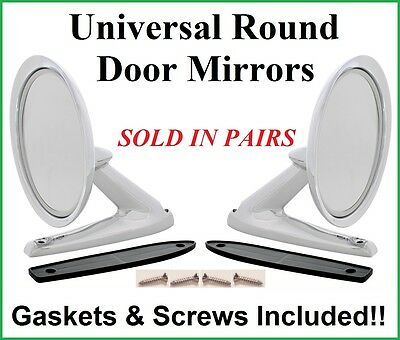 Chevy Universal Round Chrome Door Mount Rear View Mirrors & Gaskets - PAIR